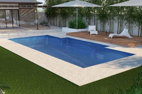 Grass surround fibreglass pool