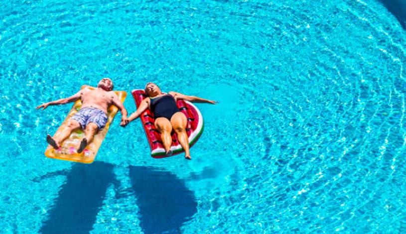 Relaxing in a fibreglass pool